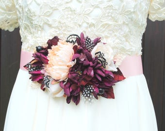 Purple Burgundy Peach Bridal Sash Comb, Grooms Purple Burgundy Boutonniere, Rustic Winter Weddings Accessories, Purple Peach Chrysanthemum