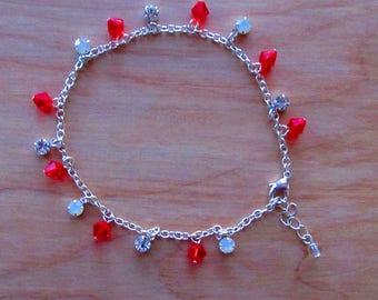 Ankle Bracelet~Swarovski~Anklet Bracelet~Jewelry~Red