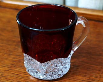 Vintage Mug Red Ruby Stained Glass Handled Cup Souvenir EAPG Pattern Glassware Youngstown Ohio Button and Arches
