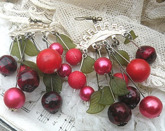 cherry assemblage earrings summer garden berry fruit recycled vintage jewelry romantic gardener cottage chic