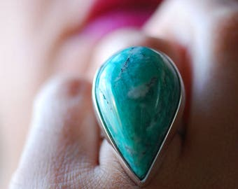 Amazonite Raindrop Ring