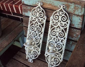 Vintage Shabby Chic Candelabra Wall Sconce Set Sconces Candle Holder antique White Distressed Chippy French Country Baroque ornate Gothic