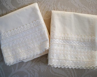 Vintage Home Bed Linens Two Pillow Cases Ecru Eyelet Trim by Martex