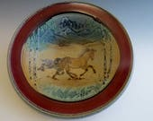 Serving Bowl Bay Mare & Foal Birch Trees Mountains