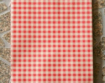 25% Off Summer Sale Set of 25 - Red Gingham Flat Paper Merchandise Bags - 6.25 x 9.25 Inches - Gifts, Packaging, Retail