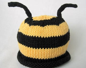 READY TO SHIP Knit Bumble Bee Cotton Baby Hat great photo prop