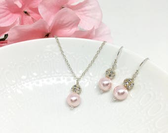 Blush Pink Bridesmaid Jewelry Set Rosaline Pearl Blush Pink Bridesmaid Jewelry Sparkly Hannah
