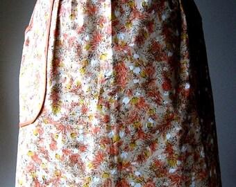 APRON Kitchen Skirt Bottom Cover PINAFORE Vintage UNUSED Orange Yellow Chintz