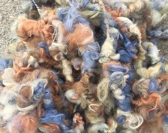 Art Yarn, Bulky Alpaca Yarn, Chunky Alpaca, Textured Yarn, Hand Spun, Hand-Dyed, Ivy, Wattlebark, Cornflower, Natural Medium Brown