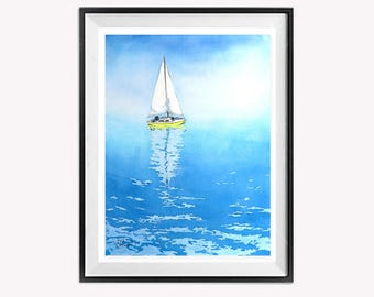 Nautical Giclee Print Watercolor printing Sailboat art Aquarelle water landscape Sailing boats wall art Blue Giclee Romantic lake Geneva