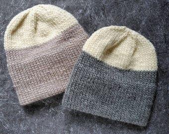 KNITTING PATTERN, Knit Hat Pattern, Knitting Patterns, Double Brim Hat Pattern, Slouchy Beanie Pattern, Slouchy Hat Patterns Chunky Knit Hat