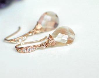 Oregon Sunstone Earrings | Peach Pink Champagne Schiller Pear Briolettes | CZ Rose Gold Vermeil | Small Earrings | Bridal | Ready to Ship