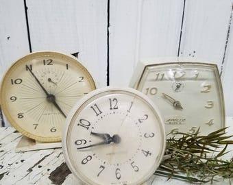 Set of three VINTAGE ALARM CLOCKS