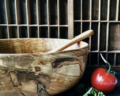 Wood Bowl, Reclaimed Maple Wood Wooden Bowl, Rustic Farmhouse Home Decor, Large Hand Turned Wood Bowl, Sunset Turnings