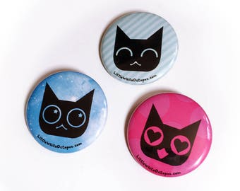 Cat Emoji Faces Pinback Button Set