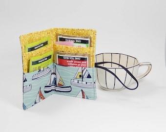 Tea wallet - Sail boat tea bag case - tea caddie - wallet for teabags - 4 pockets