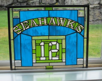 Seattle Seahawks 12th Man stained glass panel