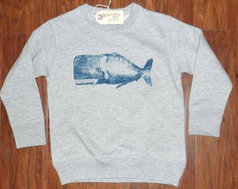 Kids WHALE crew neck Sweatshirt MADE in USA