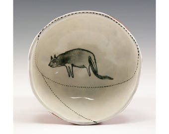 Doggie in a Bowl - Painting by Jenny Mendes in a Ceramic Pinch Bowl Finger Bowl