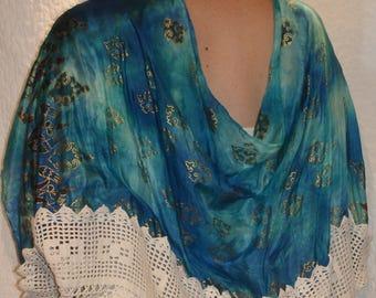 Blue Silk Scarf Shrug