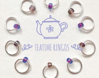 Snag Free ring stitch markers, ringos,knitting - AFTERNOON TEA