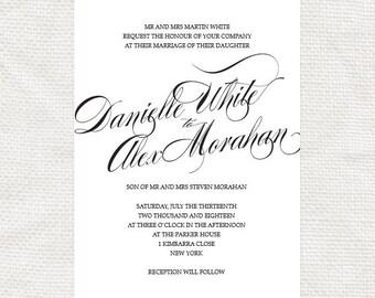 twirl - classic script printable wedding invitation - elegant calligraphy, simple modern swirls, script fonts, romantic, diy design,
