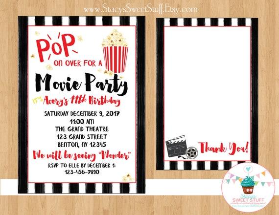 Movie birthday invitation movie invite movie birthday movie like this item stopboris Choice Image