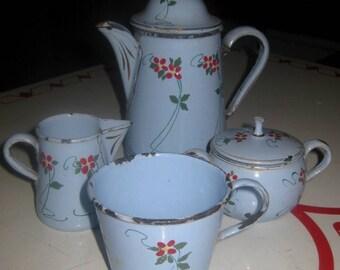 Antique Blue Enamel, Granite Art Nouveau Toy Dishes