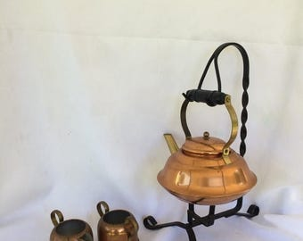 Sale Coppercraft Guild Teapot Wrought Iron Stand, Creamer and Sugar