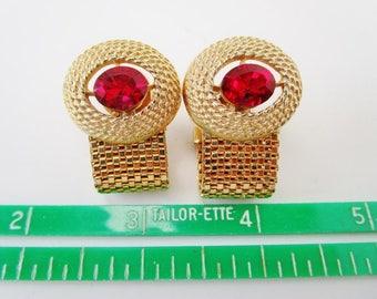 Vintage Cuff Links Bright Red Crystal Rhinestone Gold Plate Tone Metal Mesh Art Deco Retro High End Fashion Unisex Tuxedo Formal Wedding