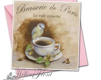 Carte, impression, d'après peinture - Oiseau, tasse , Paris, Café Noisette , Automne, brasserie parisienne © Hélène Flont Designss