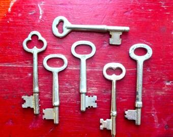 6 Vintage skeleton keys Old skeleton keys Antique keys Skelton key group Original skeleton keys Old keys Assorted Used keys Variety keys #6
