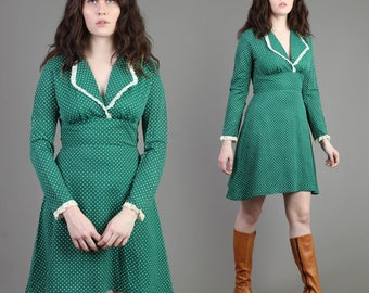 vintage 70s GREEN + POLKA DOT lace babydoll dress size extra small or small xs s / hippie empire dolly collar mod go go mini 1970s 60s 1960s