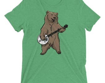 Banjo shirt etsy bluegrass bearjo distressed funny banjo playing grizzly bear graphic short sleeve t shirt publicscrutiny Image collections