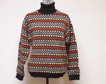Vintage Men's Norwegian Sweater - Wool Sweater - black white orange red Nordic 1970s pullover sweater by Nordmann