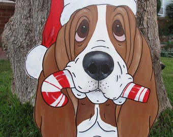 """Made to Order Hand Painted Basset Hound Holiday Yard Art  - """"Winston"""" with Candy Cane - Red/White Basset"""