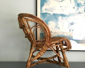 Frano Albini Style Child's Rattan Wicker Chair