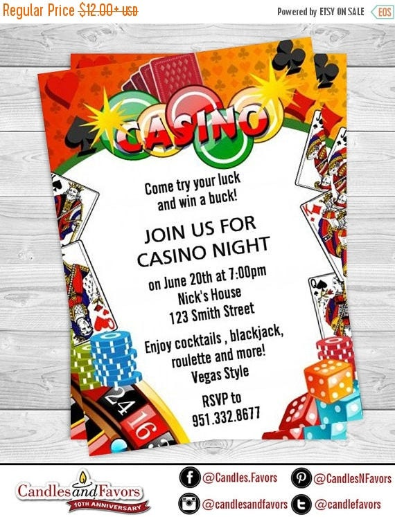 Sale Casino Night Royal Flush Birthday Party Invitation – Casino Birthday Party Invitations