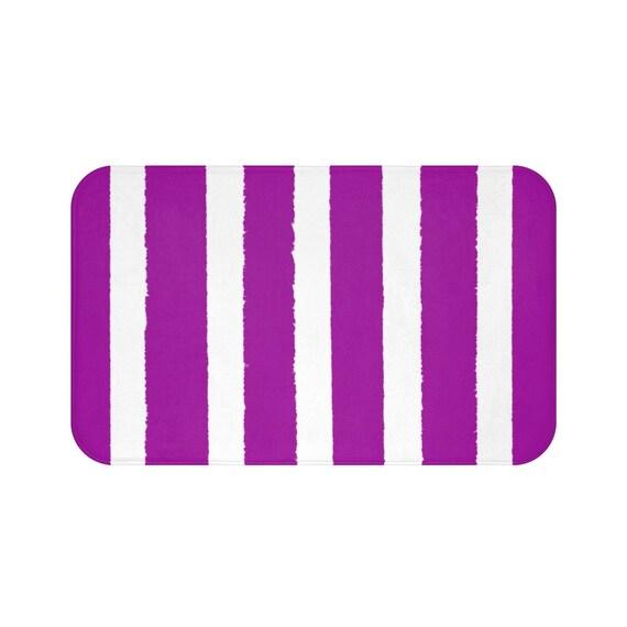 Bath Mat . Purple Bath Mat . Striped Bath Mat . Violet Bath Rug . Purple Shower Mat . Purple Striped Rug . Violet and White Striped Rug