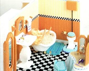 Plastic Canvas Fashion Doll Bathroom Tub Pedestal Sink Tile Floor Dressing Table Miniature Doll House Furniture Craft Leaflet Pattern 3089