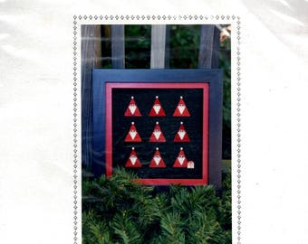 Watercolour Santas Kit Triangular Santa Claus with Button Present Counted Cross Stitch Embroidery Craft Pattern