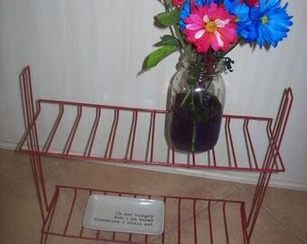 Red Metal Display Shelf Industrial Look Supply