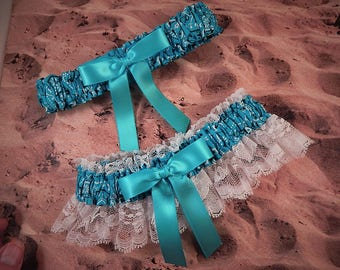 Turquoise Blue Bandana Paisley White Lace Country Wedding Garter Toss Set