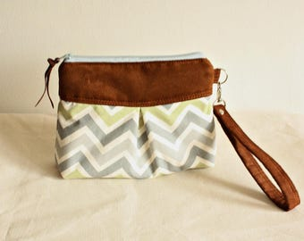 Chevron pleated wristlet, pouch, clutch, wallet, canvas and faux suede pear green/natural- READY-