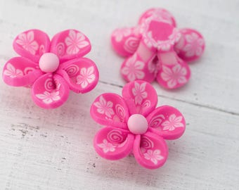 Pink  Flower Beads, 10 pcs, 20mm,  Polymer Clay   Floral beads -B15