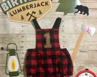 Lumberjack First Birthday Outfit, Lumberjack 1st Birthday Sunsuit, Cake Smash, Woodland First Birthday, Boys First Birthday