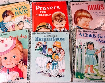 6 Little Golden books illustrated by Eloise Wilkins/the new baby/mother goose/birds