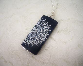 Painted Necklace, Lace Design Pendant, Wood Jewelry