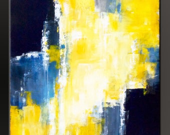 Big Sky Blue 2 - 36x36 -Abstract Acrylic Painting on Canvas - Large Fine Art Original Yellow Blue Gray