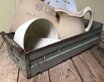 Industrial Bin Metal Drawer Gray Grey Metal File Drawer Cabinet Mechanics Storage Man Cave Tool Bin Tool Shed Salvage Display Prop